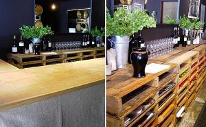 1. DIY ράφι από παλέτες για δοκιμαστήριο κρασιών
